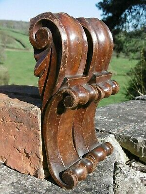 SUPERB Pr 19thc MAHOGANY WOOD CARVED CORBELS