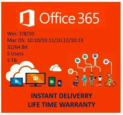 Instant Microsoft Office 365 2016 ProPlus 5User 5Device 5TB Mac/Win/Mobile
