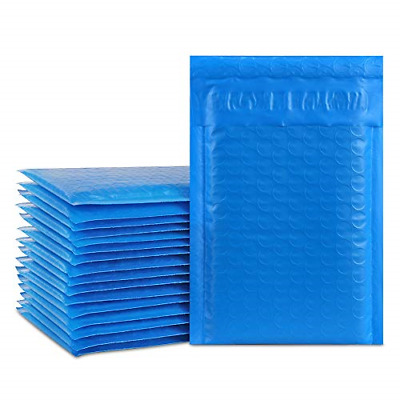 "Pack of 50  Poly Bubble Mailers Self Seal Blue Padded Envelopes Bags 4 x 8"" ..."