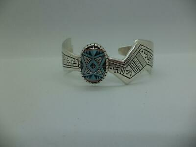 d26d60128d7 Vintage Signed Rmt Navajo Sterling Silver Oval Multi Stone Inlay Cuff  Bracelet