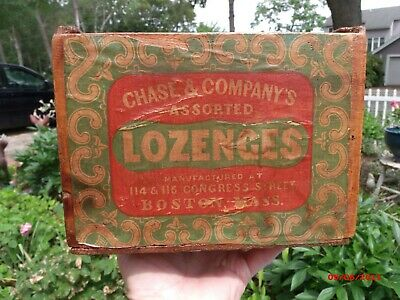 Vintage Advertising Wood Box Chase Candy Wooden Old Boston  Mass General Store