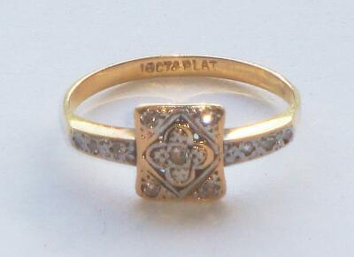 SUPERB RARE ANTIQUE ART DECO AGE OF JAZZ 18ct GOLD & PLATINUM DIAMOND RING