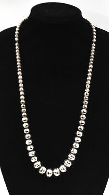 "Vintage Old Pawn Southwest Large Bead Necklace Sterling Silver ~29-1/2"" Long"