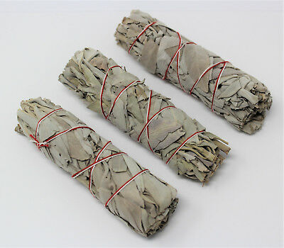 "White Sage Smudge Stick 4"" - 5"" 3 Pack (Herb, House Cleansing, Smudge Bundle)"