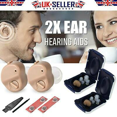 2PCS Portable Invisible Hearing Aid Enhancer Mini In-Ear Sound Voice Amplifier