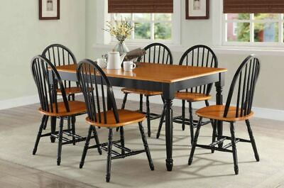 6 Person Rustic Dining Set Solid Wood Farmhouse Country Table Chair Traditional