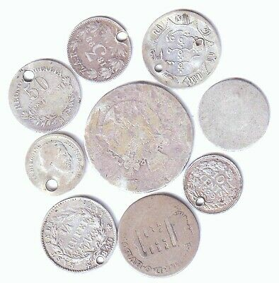 Scrap Foreign Silver 9 Coins In Total 6 Pierced Various Countries