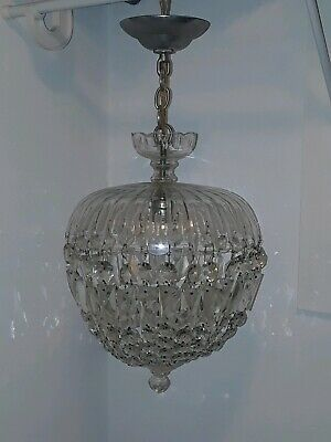 wonderful vintage VENETIAN GLASS PRISM hanging light fixture CHANDELIER