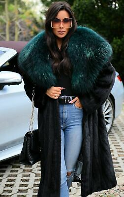 New Black Real Mink Fur Long Coat Fox Hood Class Sable Chinchilla Jacket Trench