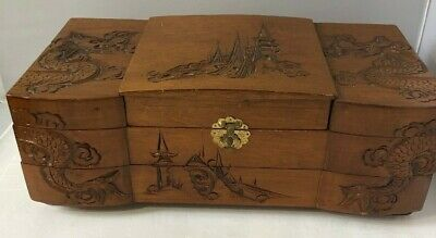Vintage Asian Themed Wood Carved Dragon One Drawer top open Box Jewelry Case