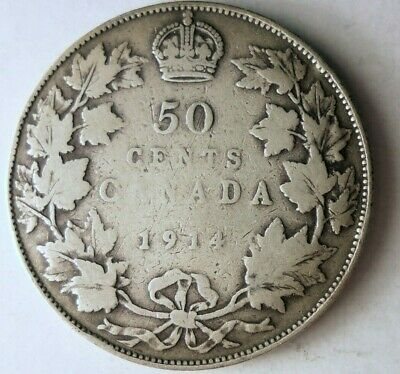 1914 CANADA 50 CENTS - Rare Early Date - Huge Catalog Value Silver Coin- Lot 613