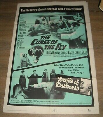 1966 CURSE of the FLY & DAUGHTERS of DARKNESS 1 SHEET MOVIE POSTER HORROR DOUBLE