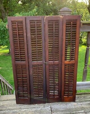 Antique Pair 2 Louvered Shutters Hinged Bifold Double Doors Window Indoor Blinds