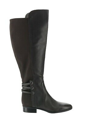 Vince Camuto Wide Calf Leather Suede Tall Shaft Boots Grey Leather 9M NEW A34409