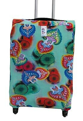 Snuggage is a Brightly colored, stretchy fabric Luggage cover to fit LARGE Cases