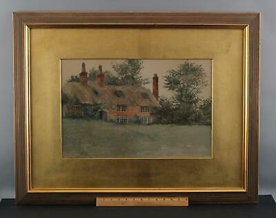1892 Antique 19thC E. WINCHESTER KINGSBURY Country Cottage Watercolor Painting