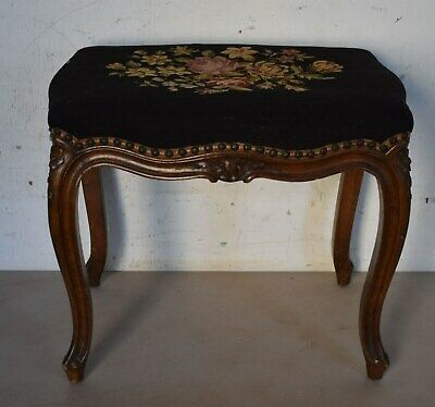 Vintage French Louis Xv Style Needlepoint Bench/Footstool - Beautiful