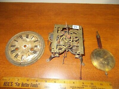 1800's JUNGHANS COTTAGE WALL CLOCK 1 DAY T&S MOVEMENT, FACE, PENDULUM, BARN FIND