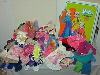 Lot Vtg 1970 3 Doll Trunk & 100pc Barbie Doll Clothing Lot many tags, snaps