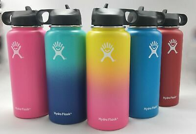 32/40oz Hydro Flask Insulated Wide Mouth Stainles Steel Watter Bottle Straw Lids
