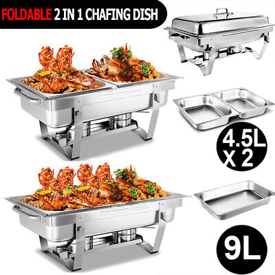 Bain Marie Chafing Dish 9L & 4.5Lx2 Bow Buffet Food Warmer Heater Stackable Set