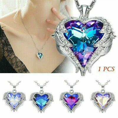 925 Silver Angel Wing Necklace Heart Rhinestone Crystal Chain Pendant Jewelry