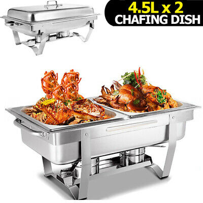 Bain Marie Chafing Dish 9L & 4.5Lx2 Bow Buffet Food Warmer Stackable 2 In 1 Set