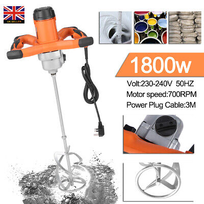 1800W Paddle Mixer Electric Plaster Mixing Paint Cement Mortar Stirrer Single UK