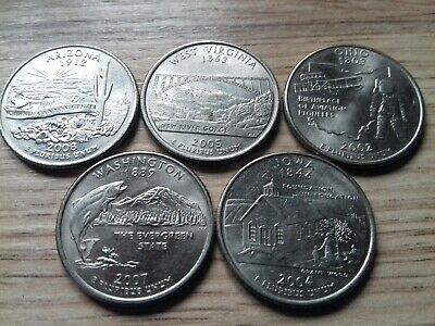 5 x American State Quarters USA 25 Cent Coins Commemorative (01)