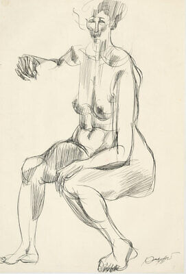 A. Mendes - Signed 1971 Pen and Ink Drawing, Expressive Nude