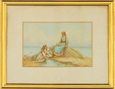 B. Davies - Framed Early 20th Century Watercolour, Rock Pooling