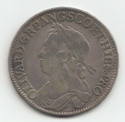 Very Rare 1658 Oliver Cromwell Half Crown Coin 2/6.