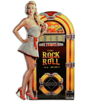 Rockabilly WANDSCHILD ca.60cm, Rock 'n' Roll LADY vor MUSIC BOX schöne 50's DEKO