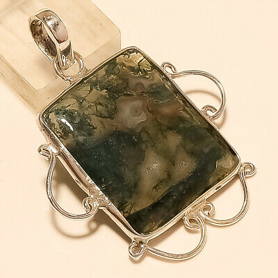 Natural Mexican Moss Green Agate Pendant 925 Sterling Silver Christmas Jewelry