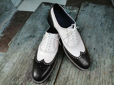 MEN'S BLACK AND White Spectator Thick Sole Shoe $119.99