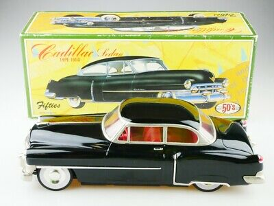 Japan ca. 1/18 Cadillac Sedan 1950 Friction Tin Toy Blech Auto mit Box 512943