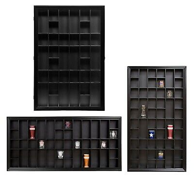 Shot Glass Display Cases Various Sizes Shadow Box w/ Hinged Door