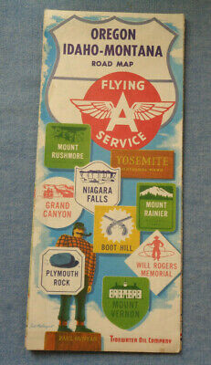 OREGON IDAHO MONTANA FLYING A SERVICE ROAD MAP -- GAS & OIL -- Census  1950