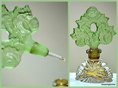 Vintage to antique Czech glass green floral perfume bottle in beautiful cond