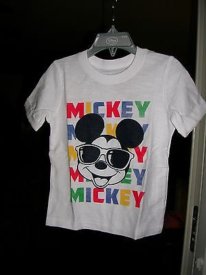 MICKEY MOUSE TODDLER BOYS Short Sleeve WHITE TEE SHIRT SIZE 2T NWT#2SS