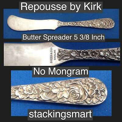 Repousse by Kirk 925 Sterling Silver Butter Spreader No Monogram 5 1/4 Inches .