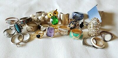 HUGE Lot 22 Vintage Mod Ring Lot Owl  Rhinestone Signed Avon Henhouse 14KHGE +