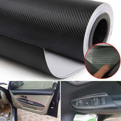 3D Car Interior Accessories Interior Panel Carbon Fiber Vinyl Wrap Sticker Black