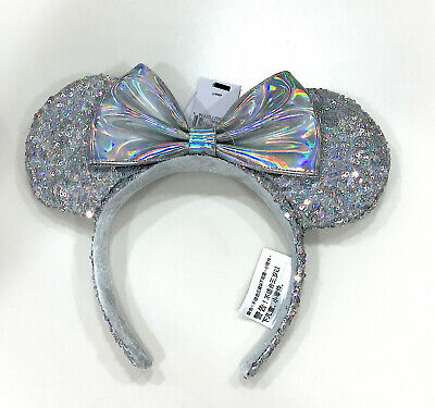 Disney Parks Minnie Mouse Sequin Bow Glitter Ears Iridescent Silver Headband