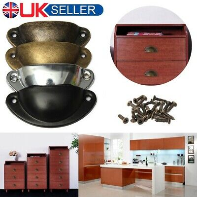 6PCS Door Shell Pull Handle Drawer Cupboard Cabinet Furniture Antique Brass Cup
