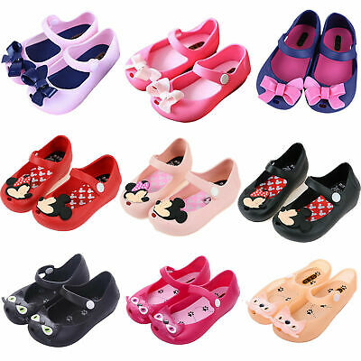Kids Girls Summer Shoes Holiday Beach Mickey Minnie Cat Bow Flat Sandals Toddler