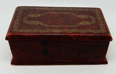 Vintage English Leather Clad 3 Well Divided Stamp Box