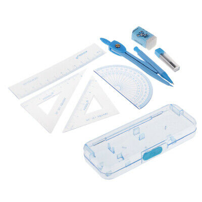 Compass Geometry Kit Math Set for Students Kids with Plastic Carrying Case