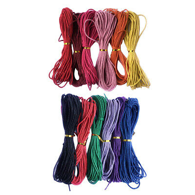 12 Rolls 10M 2mm Waxed Cotton Cords Thread for DIY Bracelet Jewelry Makings