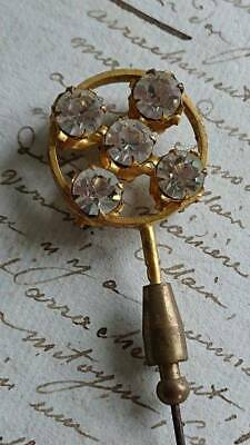 BEAUTIFUL ANTIQUE FRENCH DOUBLE SIDED BEJEWELLED HAT PIN c1880